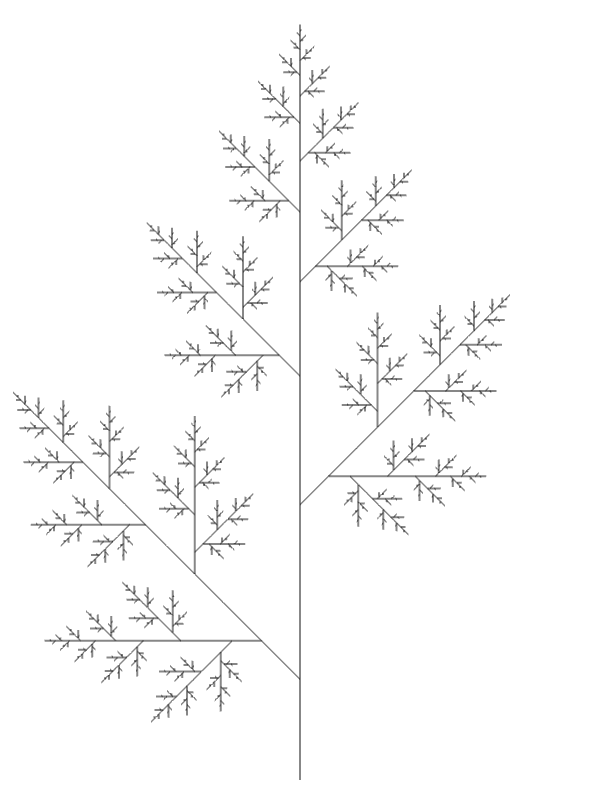 Length changing leaf angle 45, line length 1, starting width*0.5 x height-20